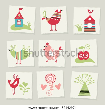 set of cartoon elements - stock vector