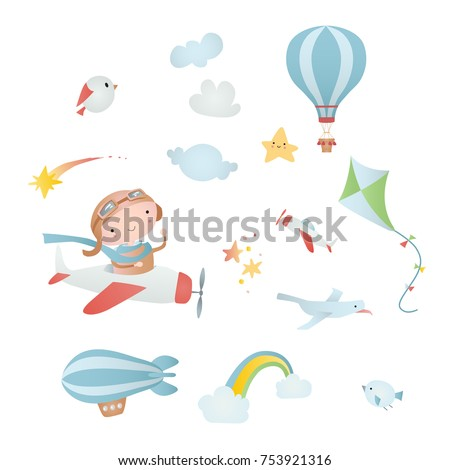 Set of cartoon elements: pilot, airplane, kite, balloon,  airship, cloud, bird, comet. Time of adventure.