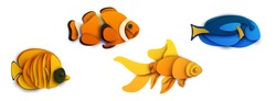 Set of cartoon exotic fish in trendy paper cut craft graphic style. Modern design for advertising, branding cover, poster, banner. Vector illustration.