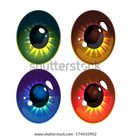 set of cartoon eyes isolated on