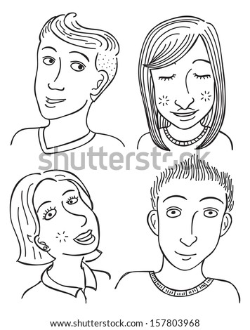 set of cartoon face