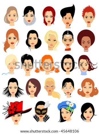 Set of cartoon faces. Girls. Part 1