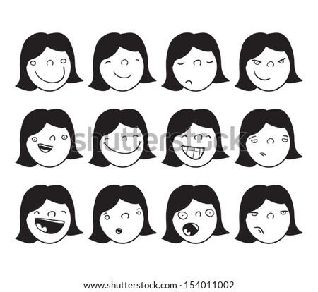 Set of cartoon faces of a girl Angry Girl Cartoon Japanese