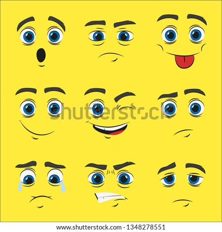 set of cartoon faces with emotions, vector illustration