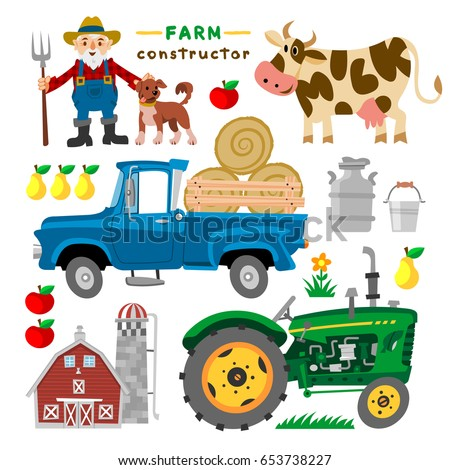 set of cartoon farm elements