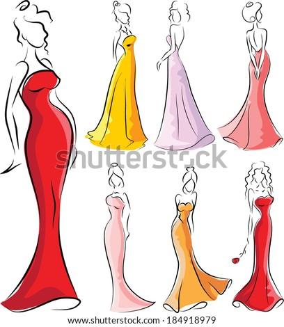 set of cartoon fashionable women