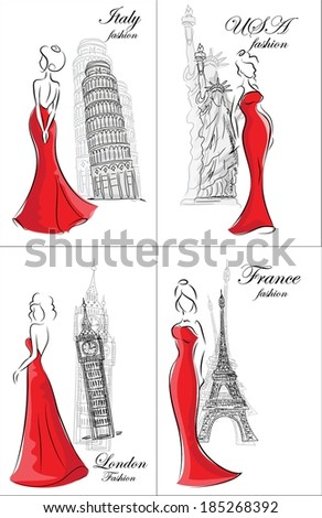 set of cartoon fashionable women