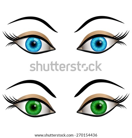set of cartoon female eyes blue