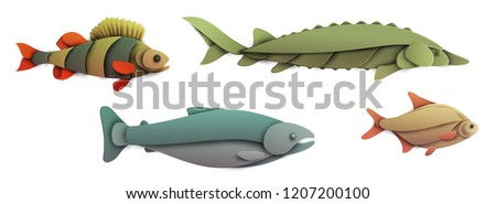 Set of cartoon fish in trendy paper cut craft graphic style. Bream, salmon, sturgeon, perch. Modern design for advertising, branding greeting card, cover, poster, banner. Vector illustration.