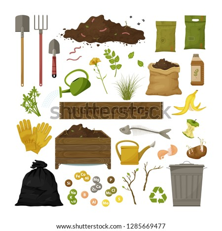 Set of cartoon flat icons. Organic compost theme. Garden tools, wooden box, ground, food garbage. Illustration of bio, organic fertilizer, compost, agronomy. Colored vector design.