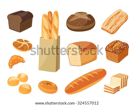 Shutterstock Set of cartoon food: bread - rye bread, ciabatta, wheat bread, whole grain bread, bagel, sliced bread, french baguette, croissant and so. Vector illustration, isolated on white, eps 10.