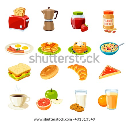 Set of cartoon food: breakfast. Toaster/coffee pot/jam/peanut butter/fried eggs and bacon/pancakes/waffles/cornflakes/sandwich/bun/croissant/fruits/juice and so. Vector illustration isolated on white.