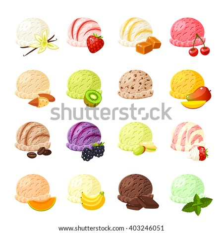set of cartoon food  ice cream