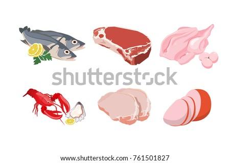 set of cartoon food  meat cuts