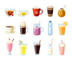 Set of cartoon food: non-alcoholic beverages - tea, herbal tea, hot chocolate, latte, mate, coffee, root beer, smoothie, juice, milk shake, lemonade and so. Vector illustration, isolated on white.