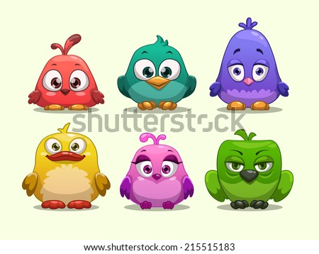 Set of cartoon funny birds #215515183