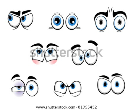 Set of cartoon funny eyes for comics design, such a logo. Rasterized version also available in gallery - stock vector