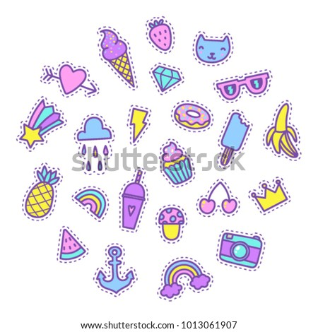Set of cartoon funny patches. Vector isolated objects.