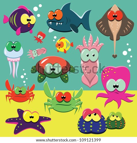 Set of cartoon funny sea animals: fishes, octopuses, crabs, sea-stars.