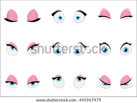 set of cartoon girl eyes