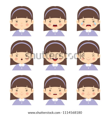 Set of cartoon girl with different emotions isolated on white background. Down Syndrome child face expression in flat vector illustration.
