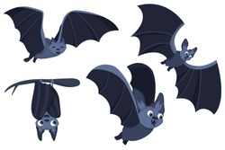 Set of cartoon Halloween bats. Collection set. Design for Halloween party decoration. Vector illustration. Trick or Treat Concept. Illustration isolated on white background.