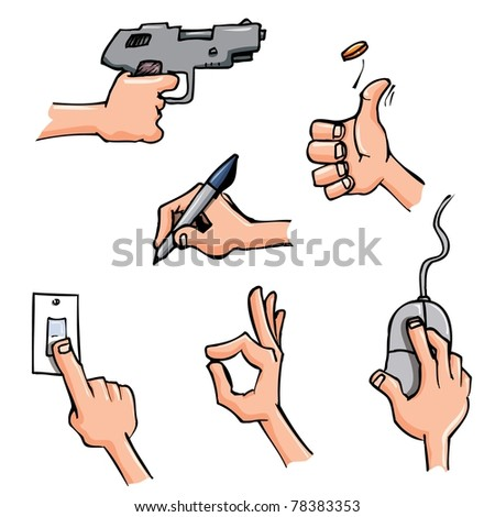 Set of Cartoon hands in everyday poses. Isolated on white