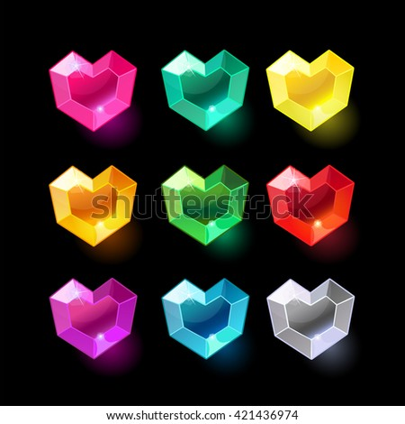 set of cartoon heart different