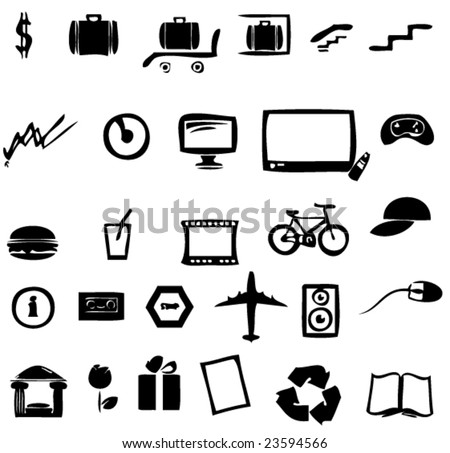 set of 28 cartoon icons - stock vector