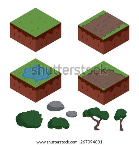 set of cartoon isometric ground