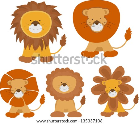 set of cartoon lions