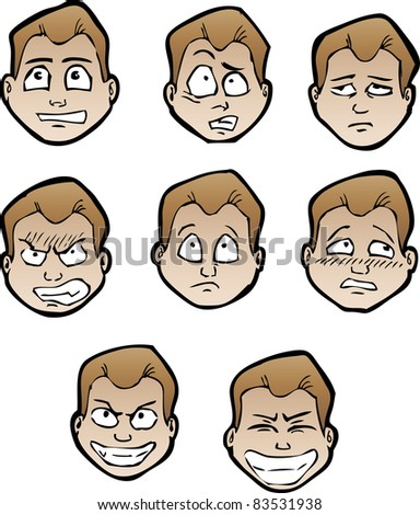 Set of cartoon male's faces with emotional expressions