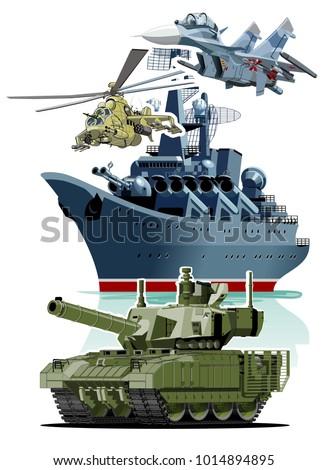 set of cartoon military