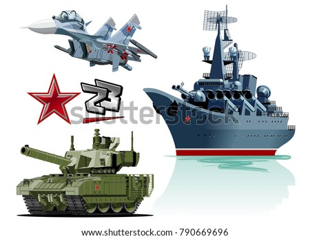 set of cartoon military