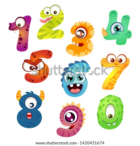 set of cartoon monster numbers