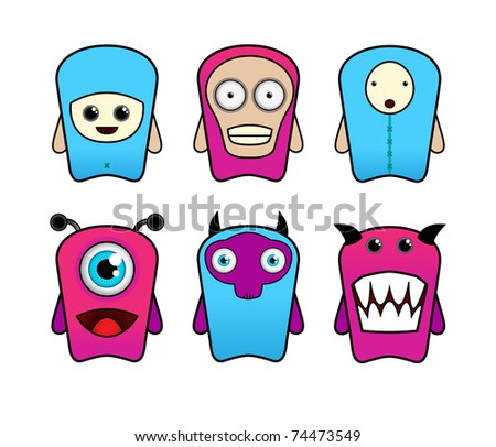 Set of cartoon monsters #74473549