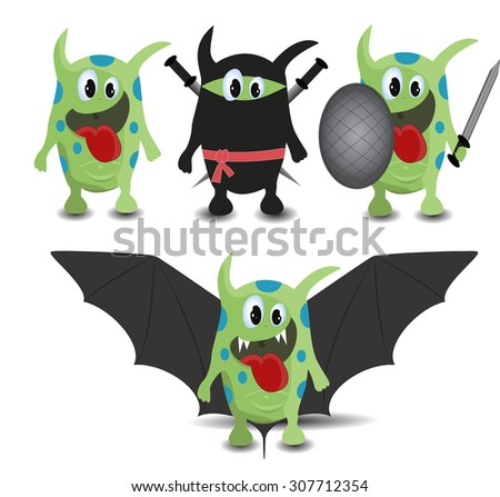 set of cartoon monsters as bat