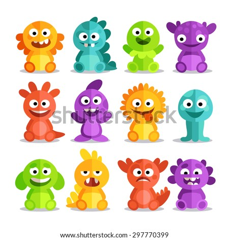 set of cartoon monsters in a