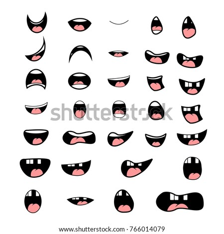 set of cartoon mouth poses for animation vector elements
