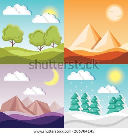 set of 4 cartoon nature