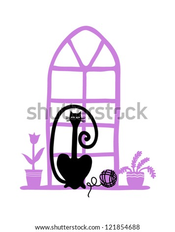 set of cartoon nice vector cats on the window with plants