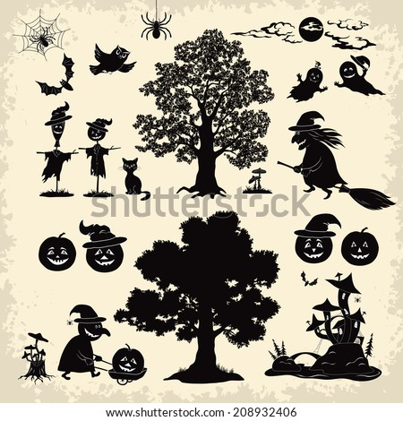 Set of cartoon objects and subjects for the holiday Halloween design, trees, animals and characters, pumpkins, witch, ghosts and other black silhouettes. Vector