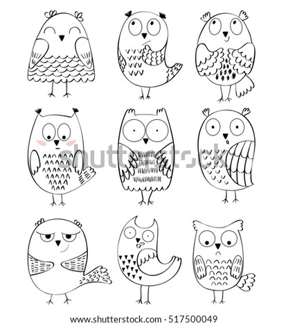 set of cartoon owls with