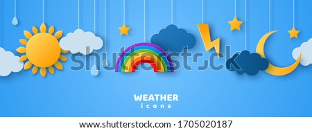 Set of cartoon paper cut weather icons on blue sky background. Vector illustration. Sun in clouds, rain drops, lightning and thunder, crescent moon with stars. Cute design for kids