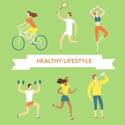 Set of cartoon people doing sport exercises. Including cycling, fitness with weights, tennis,drinking water, running, yoga. Healthy lifestyle illustration for your design.