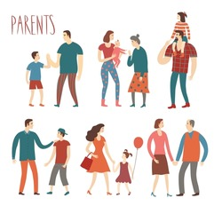 Set of cartoon people.Parents with kids. Including man, woman, teenagers, babies, adults, old people. Characters illustrations about love and support n family for your design.