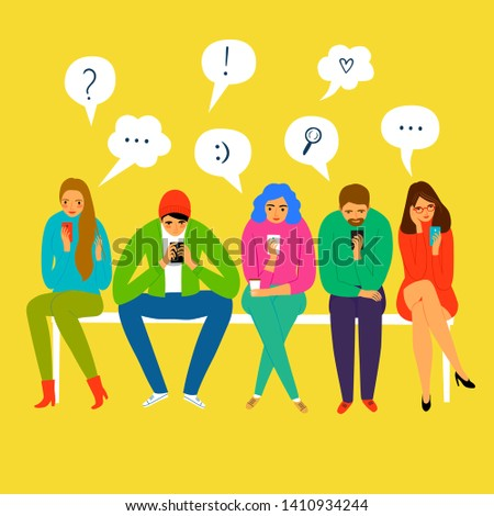Set of cartoon people sitting and looking on smartphone screen. Social networks  vector illustration for your design. Stock fotó ©