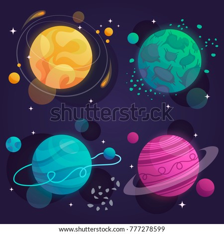 set of cartoon planets in space. vector illustration