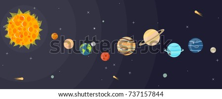 set of cartoon planets of the