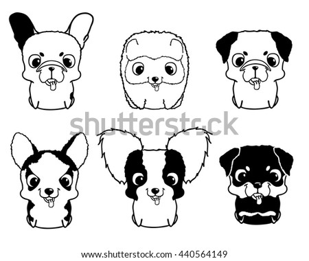 set of cartoon puppies black and white vector illustration isolated on white rottweiler